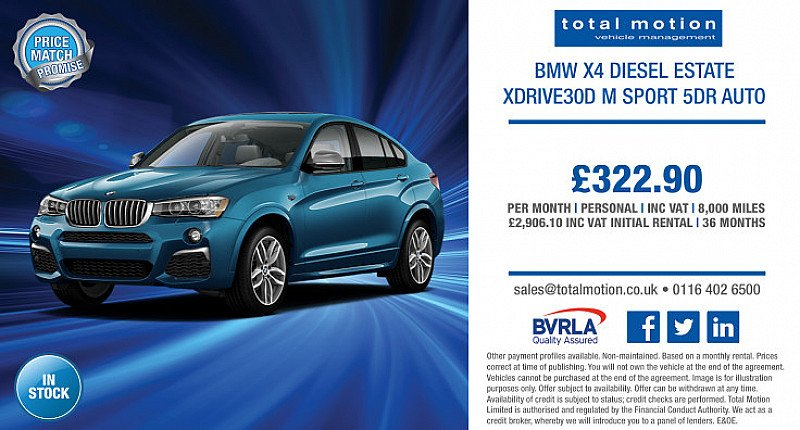 BMW X4 xDrive30d M Sport Auto   Personal Lease for £322.90 p/m!