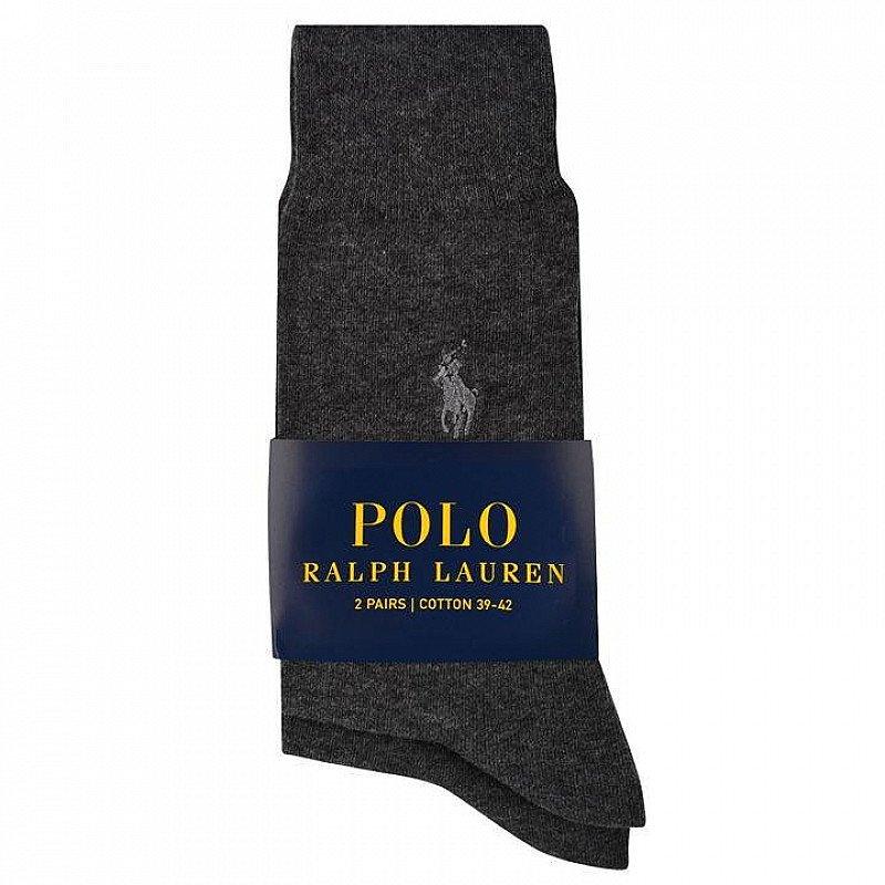 POLO RALPH LAUREN  2-Pack Charcoal Dress Socks - SAVE 30%!