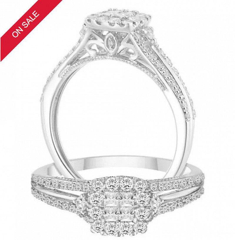 LEES THAN HALF PRICE - 9ct White Gold 2/5ct Diamond Princessa Ring!