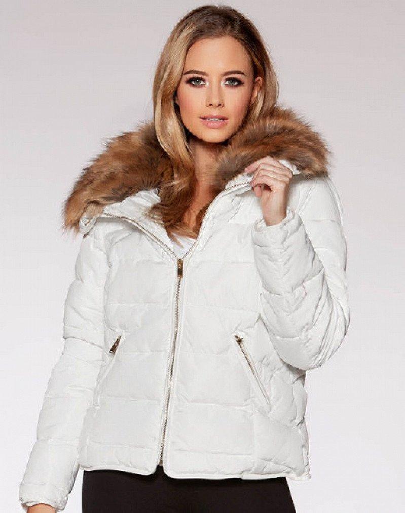 White Padded Faux Fur Collar Zip Jacket - SAVE 45%
