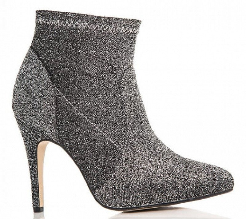 OVER 70% OFF - Grey Textured Pointed Ankle Boots!