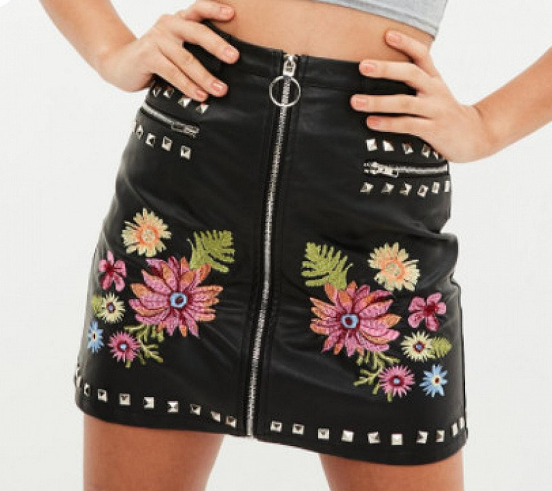 SAVE 40% on this Black Faux Leather Studded Mini Skirt!