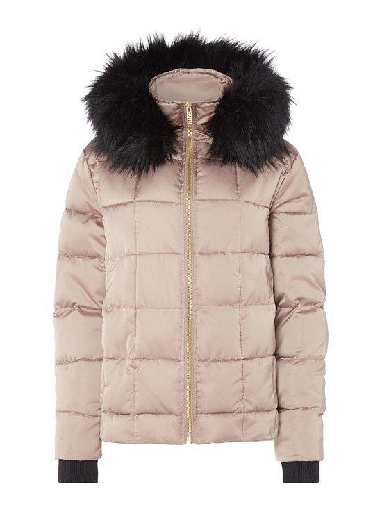 50% OFF - BIBA Hooded Faux Fur Trim Puffer