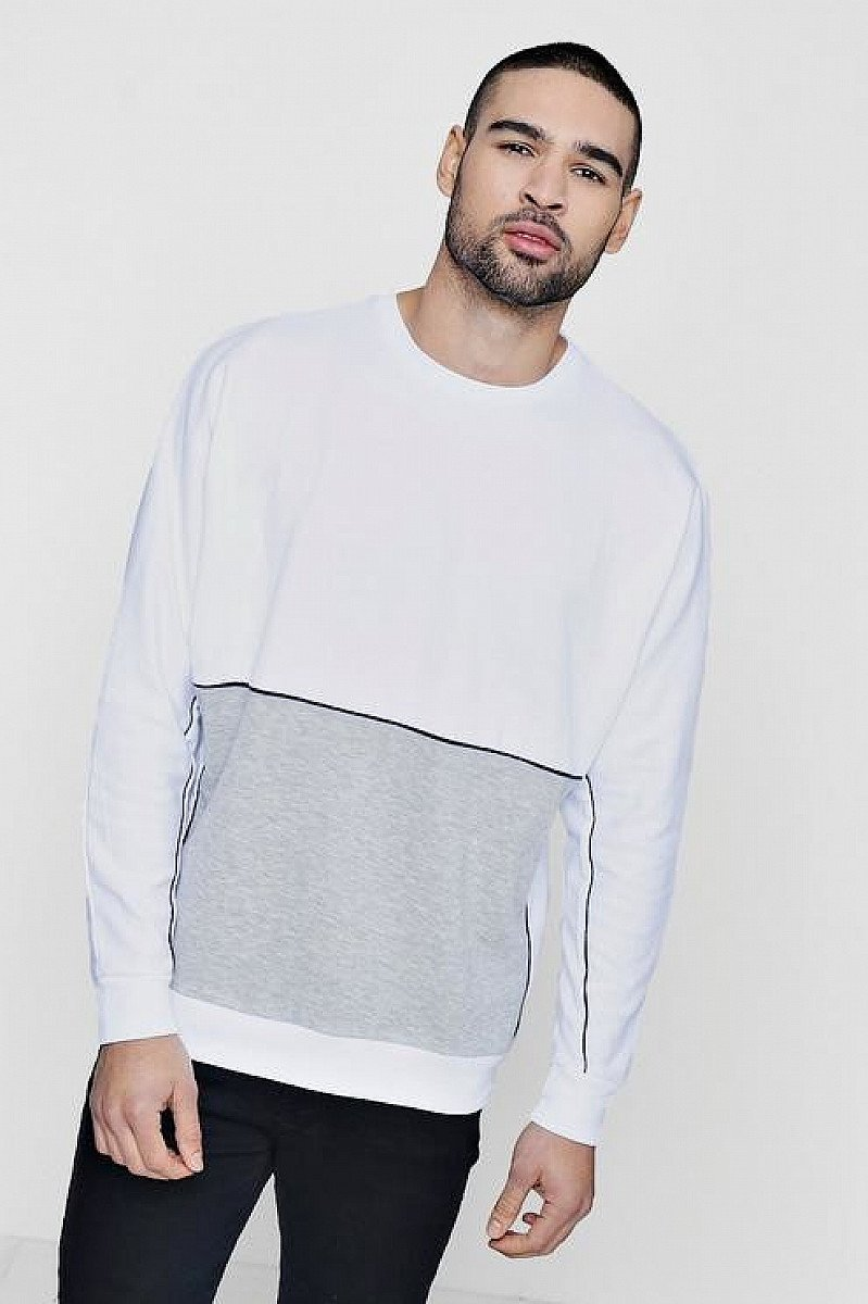 Men's Colour Block Sweater - ONLY £6, save 70%!