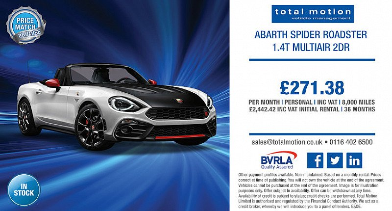 Abarth Spider Roadster starting at £271.38 p/m!