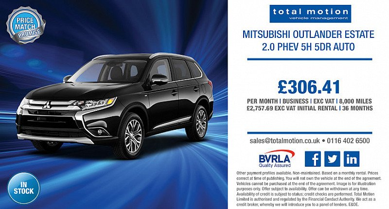Mitsubishi Outlander 2.0 PHEV 5h Auto | Business Leasing Offer for £306.41 p/m!