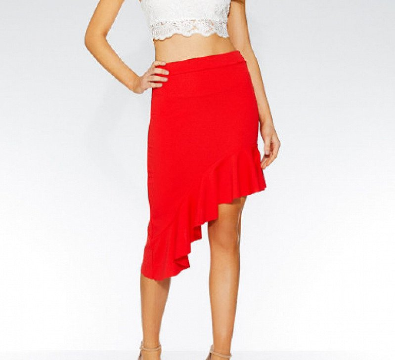 SAVE 25% on this Red Asymmetrical High Waist Skirt!