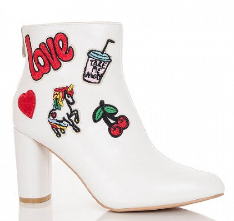 SAVE 65% on White PU Patchwork Embroidered Ankle Boots!