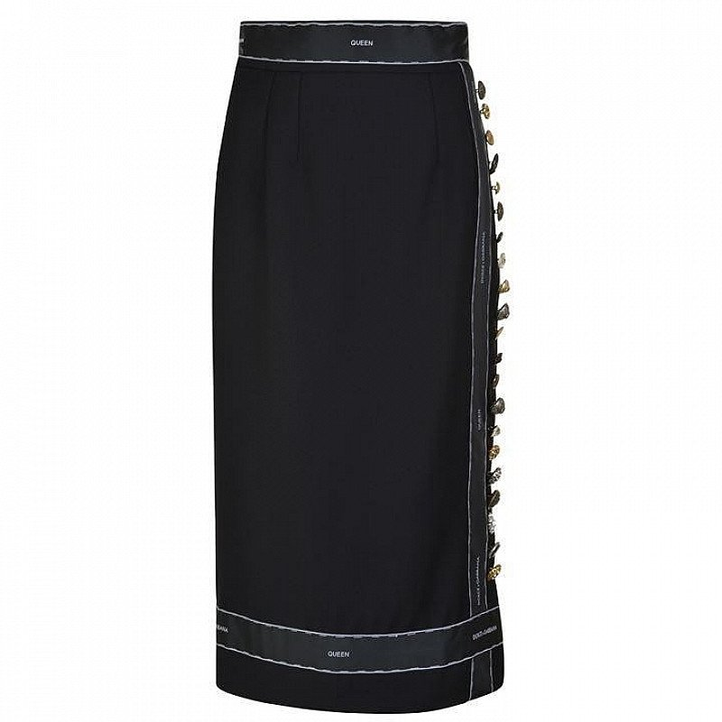 SAVE OVER £900 on DOLCE AND GABBANA Taped Button Detail Midi Skirt!