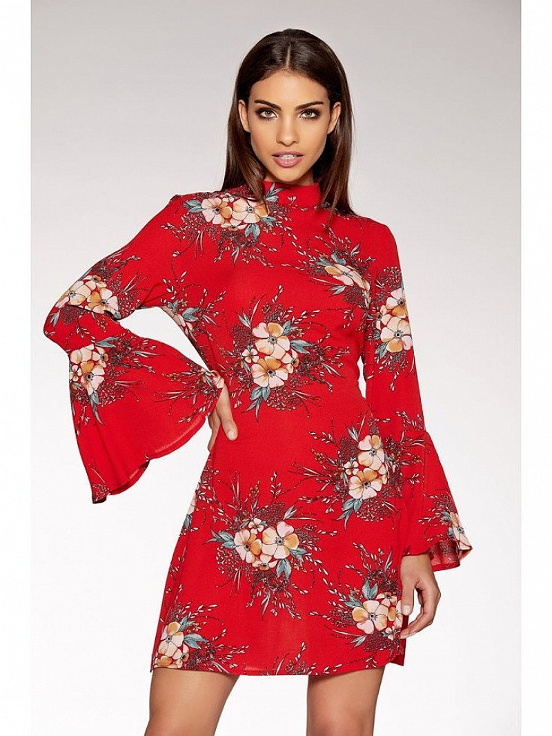 SAVE 1/3 on this Red Crepe High Neck Flute Sleeve Dress!