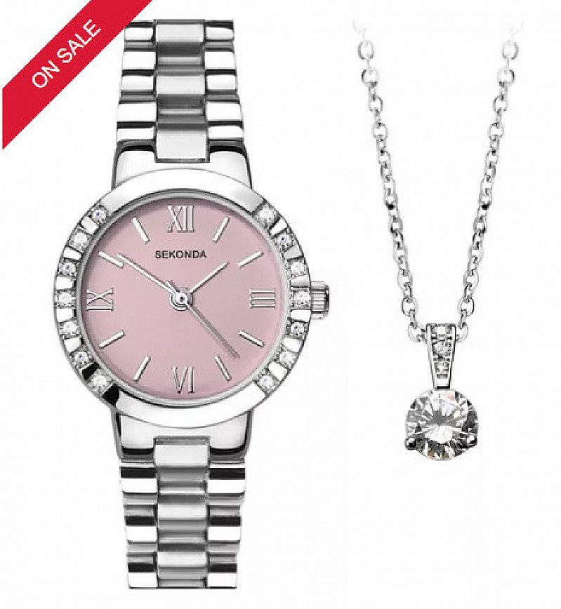 1/2 PRICE - Sekonda Ladies' Stainless Steel Bracelet Watch & Pendant Set!