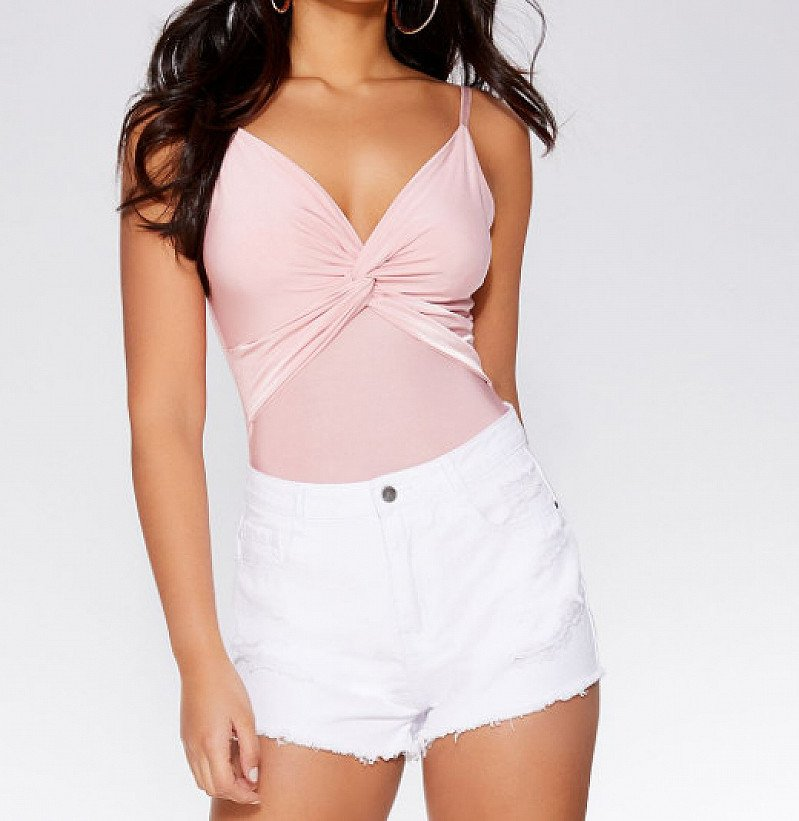 25% OFF - Blush Pink Knot Front Bodysuit!