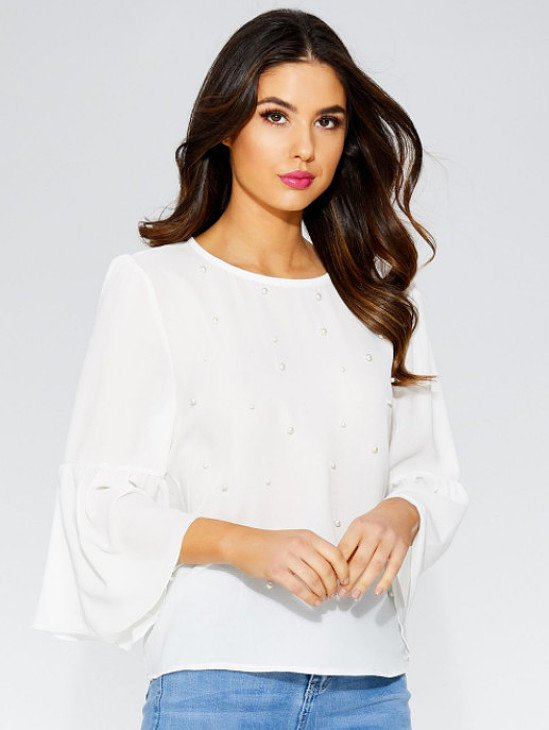 OVER 30% OFF - Crepe Pearl Frill 3/4 Sleeve Top!