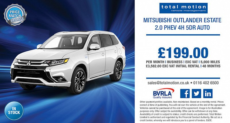 Affordable Hybrid Leasing | Mitsubishi Outlander PHEV 4h Auto for £199 + VAT P/M!