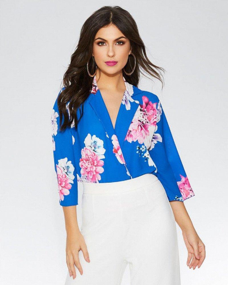SAVE 20% on this Royal Blue Floral Lapel Bodysuit!