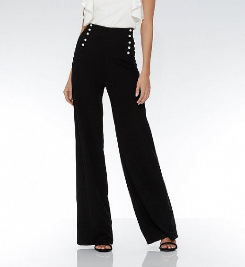 20% OFF - Black Crepe Palazzo Pearl Trousers!