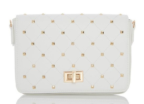 40% OFF - White Gold Stud Trim Bag!