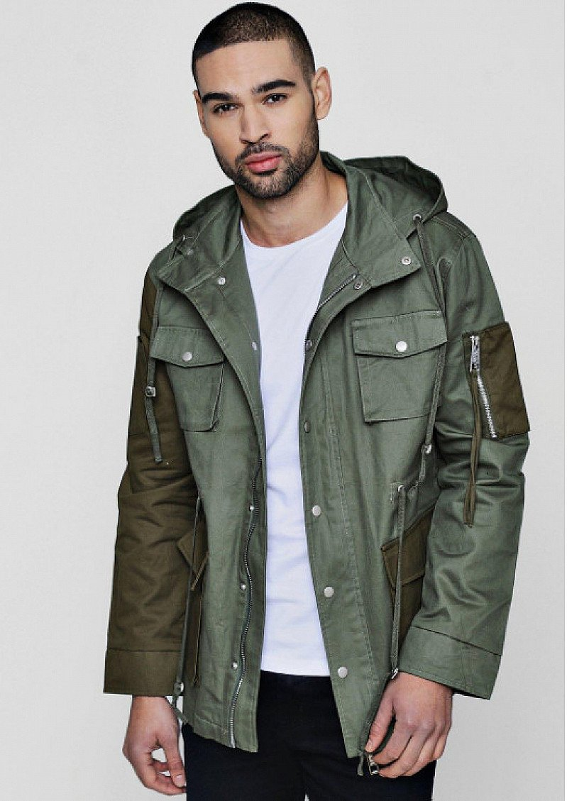 Get £25 OFF this Contrast Pocket Field Jacket!