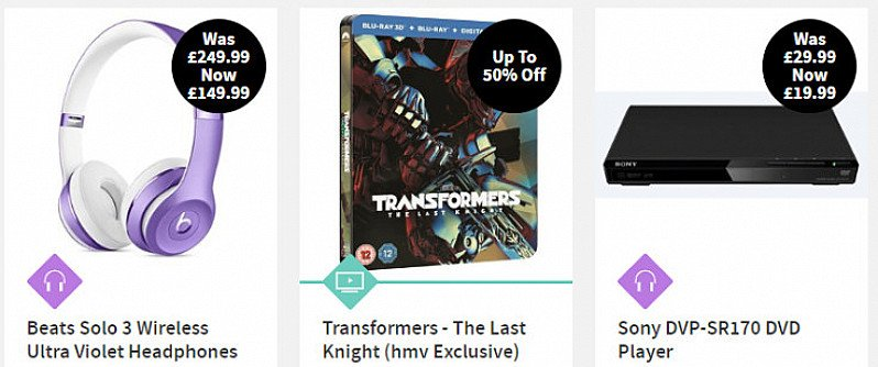 Save up to 80% on selected products across DVDs, Blu Ray, CDs, headphones and much more!