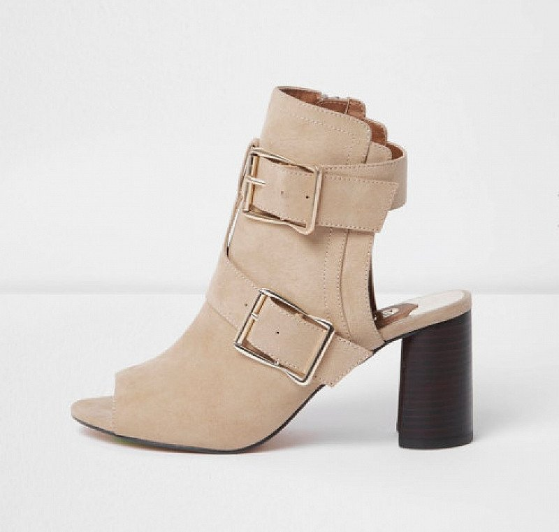 £20 OFF - Beige Multi Buckle Block Heel Shoe Boots!