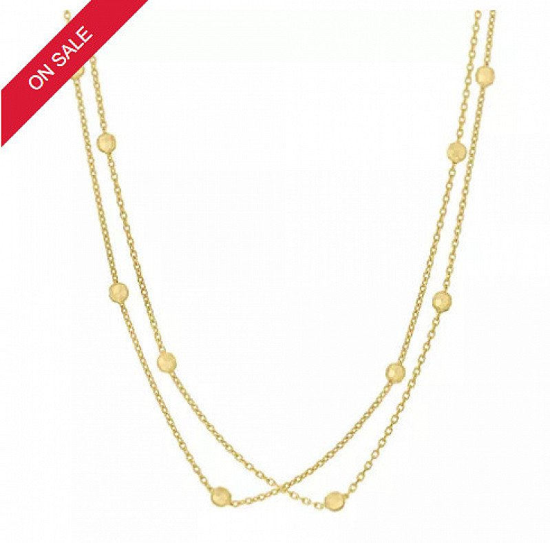 £50 OFF this 9ct Gold Glitter Ball Double Chain Necklace!