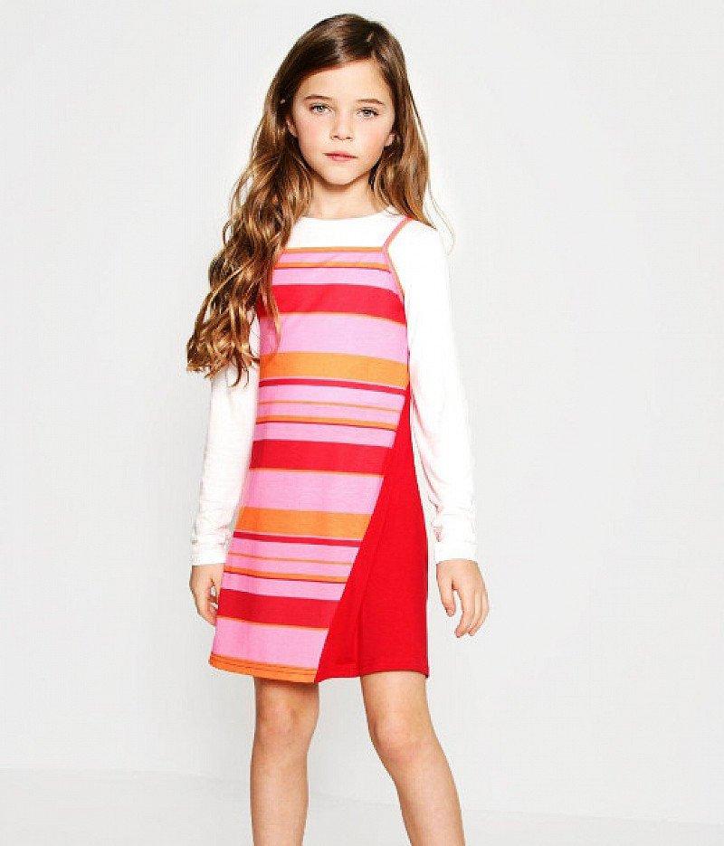 Girls Two Piece Colour Block Dress - SAVE 64%!