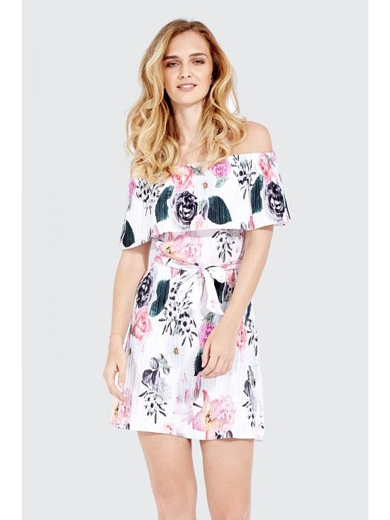 SAVE 56% on this FLORAL PLEATED BARDOT DRESS!