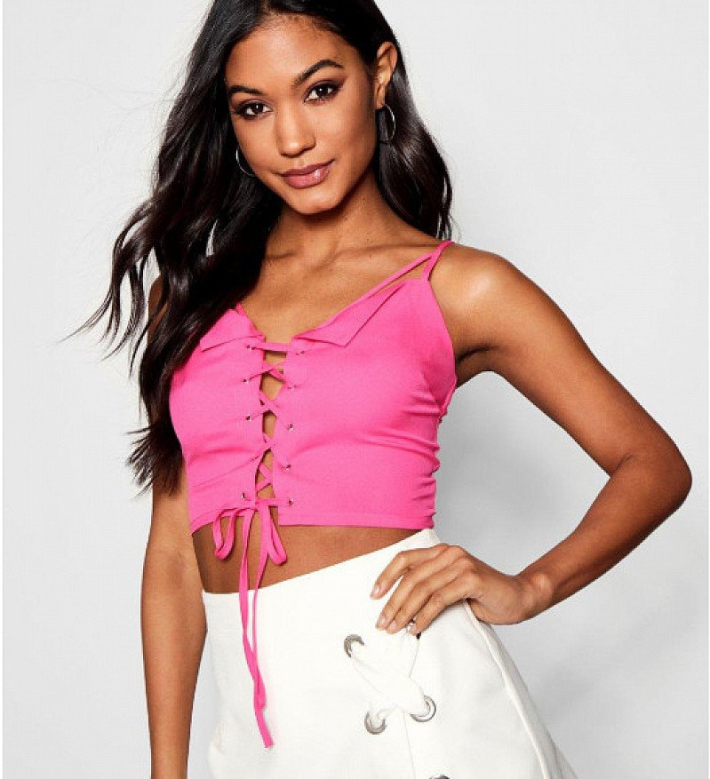 60% OFF - Riley Caged Collar Lace Up Eyelet Bralet!