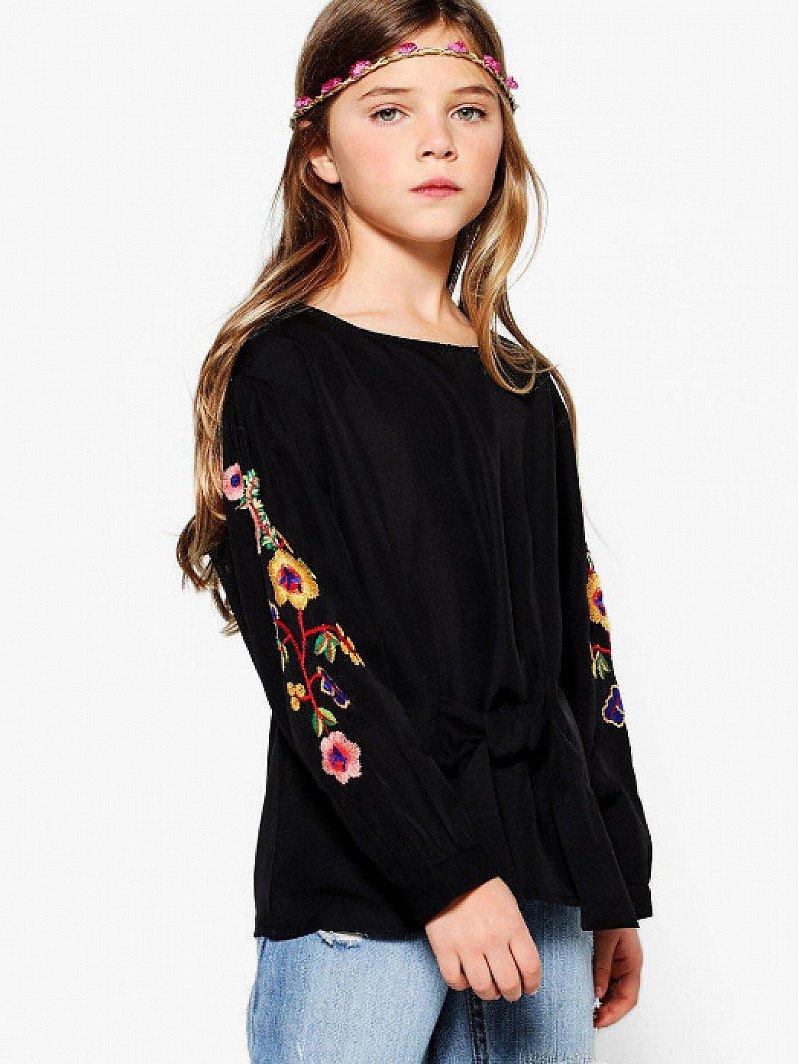 1/2 PRICE - Girls Embroidered Puff Sleeve Shirt!
