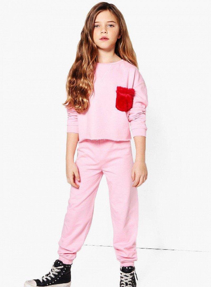1/2 PRICE - Girls Faux Fur Pocket Top & Jogger Set!