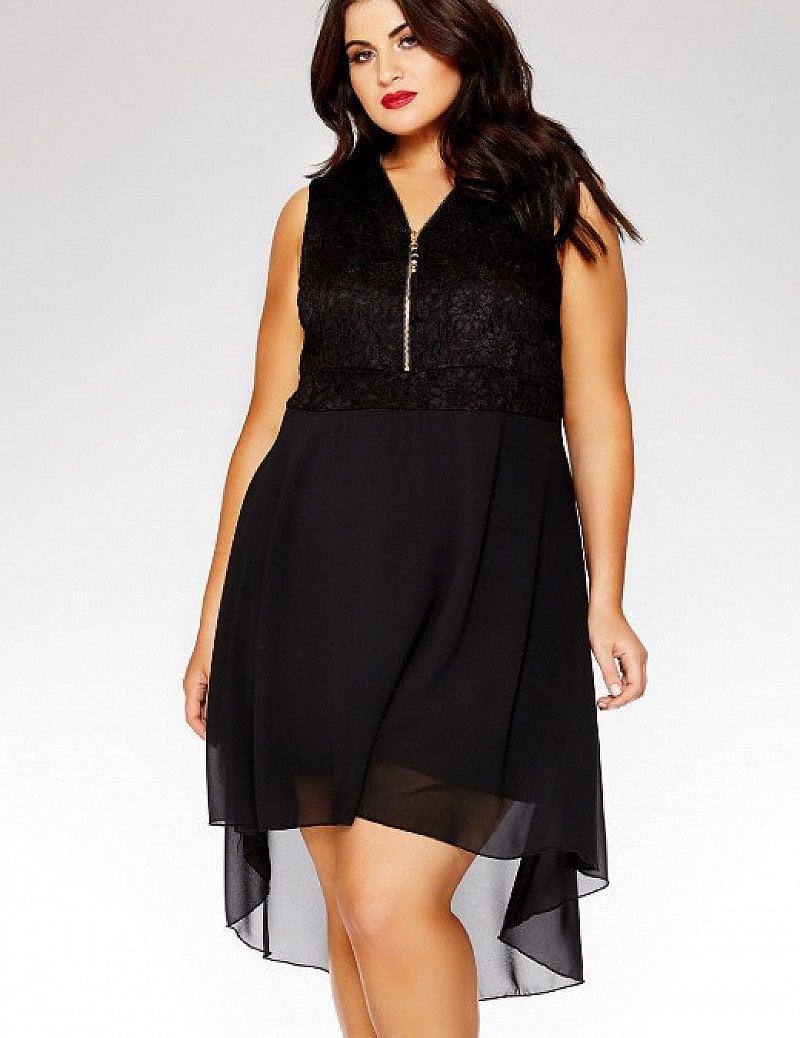 20% OFF - Curve Black Lace V Neck Dip Hem Dress!