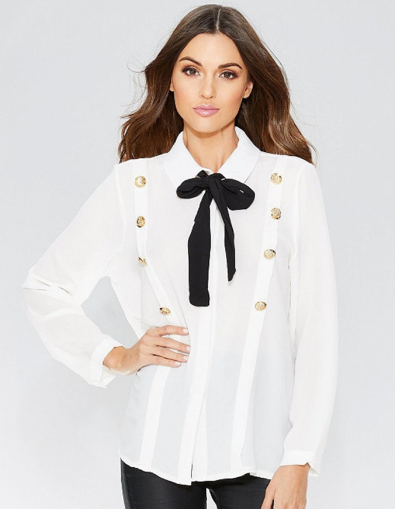 SAVE £10 on this Cream Tie Neck Button Detail Top!