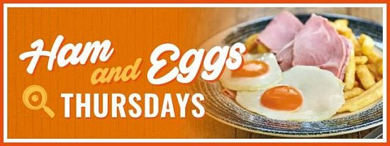 It's Ham & Eggs Thursday! Come and enjoy a dish with us this evening...