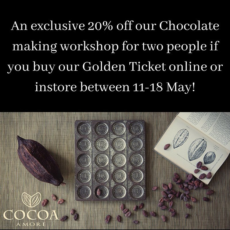20% off our Chocolate Making workshop for two people if you buy our Golden Ticket online!
