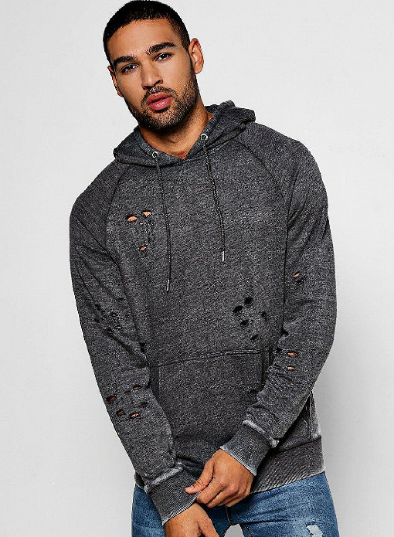 SAVE 68% on Over The Head Distressed Hoodies With Enzyme Wash!