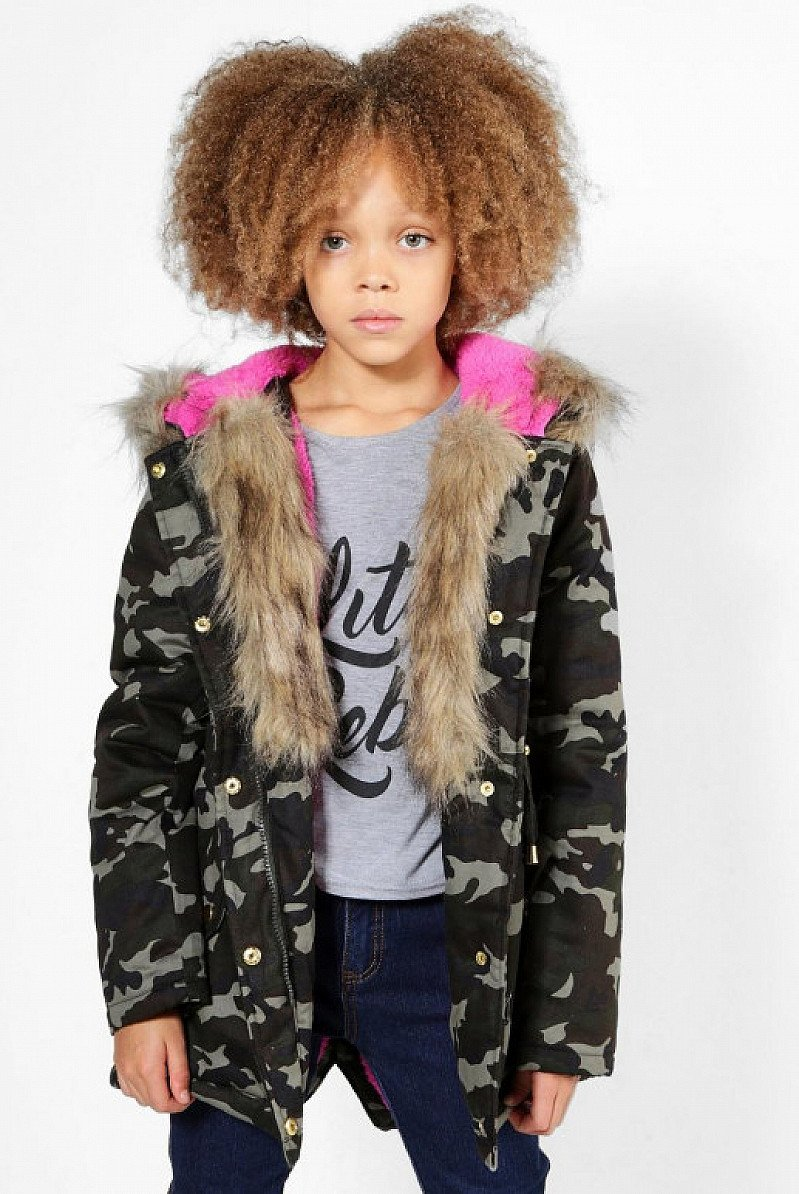 SAVE OVER 70% on this Girls Camo Padded Natural Faux Fur Parka!