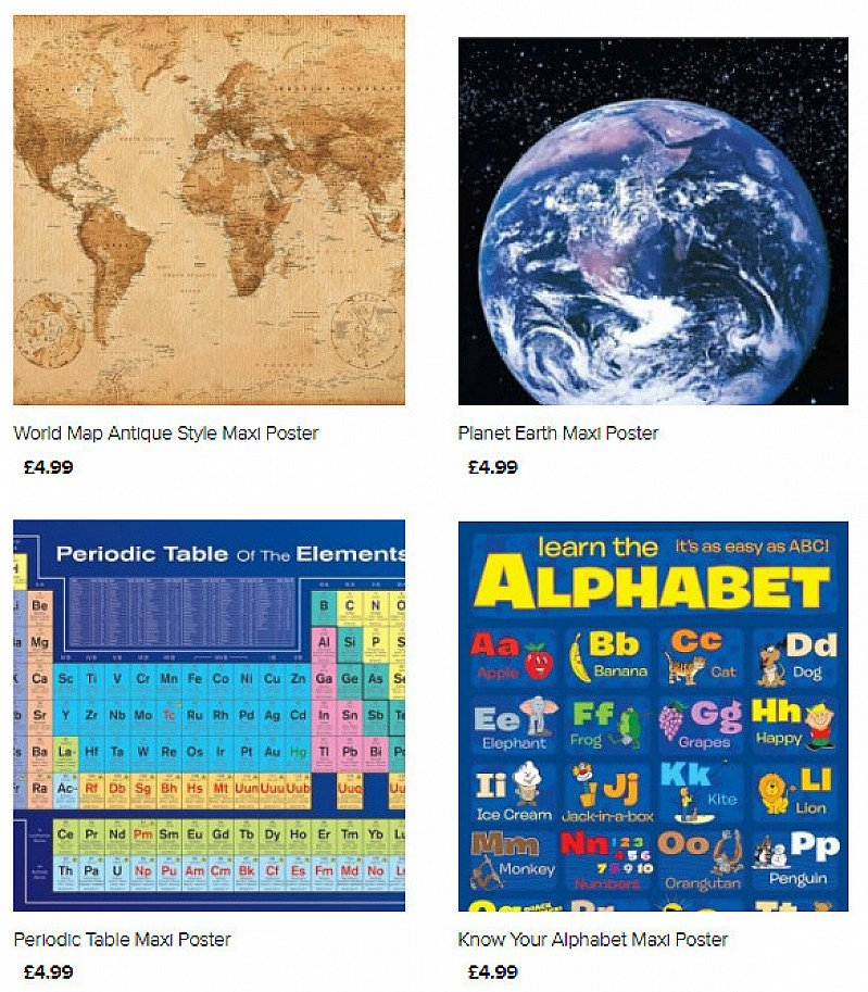 Periodic tables, Times table, Alphabet and Solar System posters in our Educational poster range!
