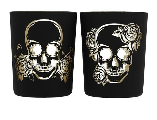 SKULL SET OF 2 GLASS TEA LIGHT OR VOTIVE HOLDERS