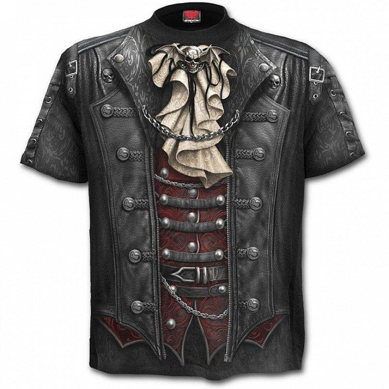 Spiral Goth Wrap Victorian Biker Allover T-Shirt Top Tee