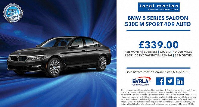 BMW 530e M Sport Auto Business Leasing Offer   £339 + VAT