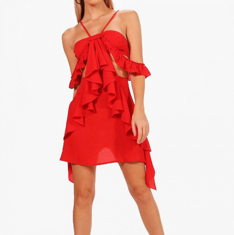 OVER 70% OFF this Veronique Ruffle Cutout Dress!