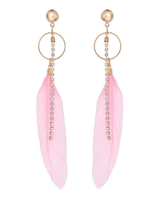 FESTIVAL INSPO - 1/3 OFF these Pink Feather Chain Earrings!