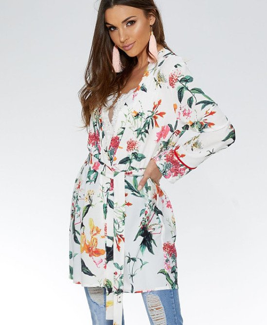 SAVE OVER 25% on this White And Orange Floral Tie Waist Kimono!