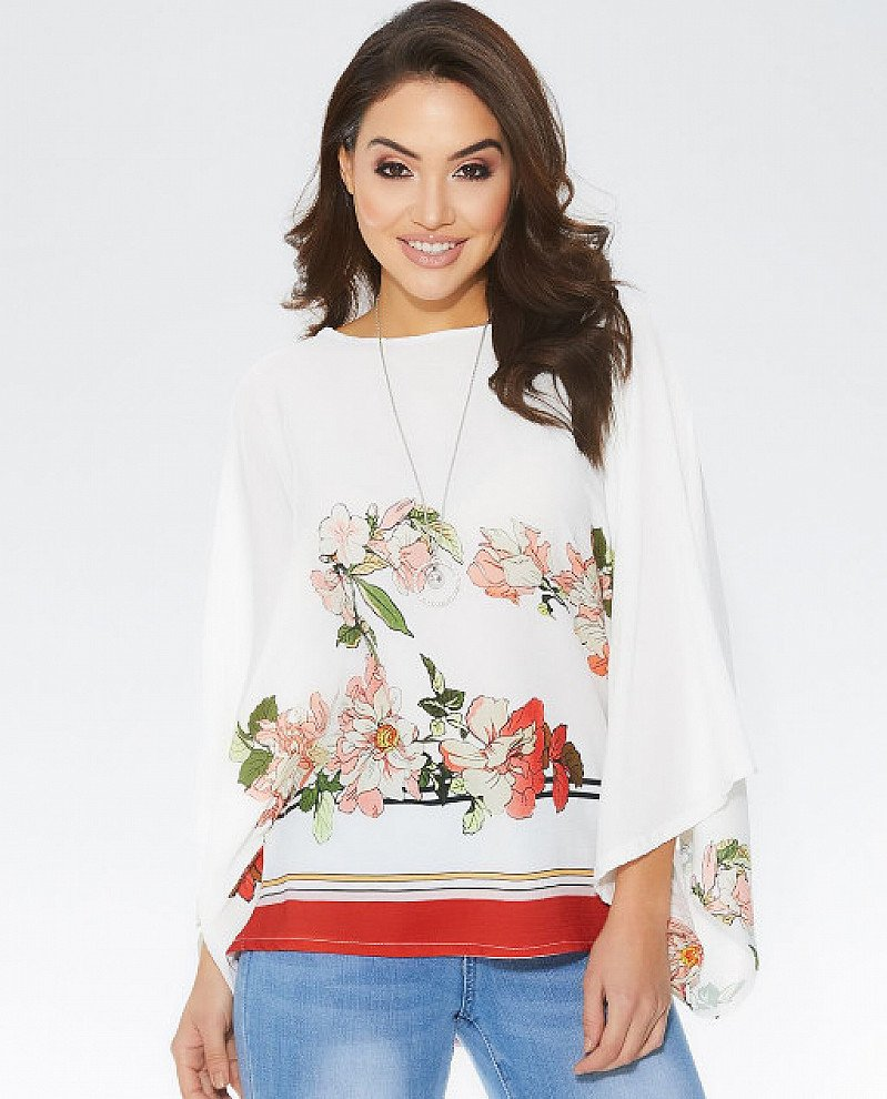 20% OFF - Floral Necklace Top in Cream and Orange!
