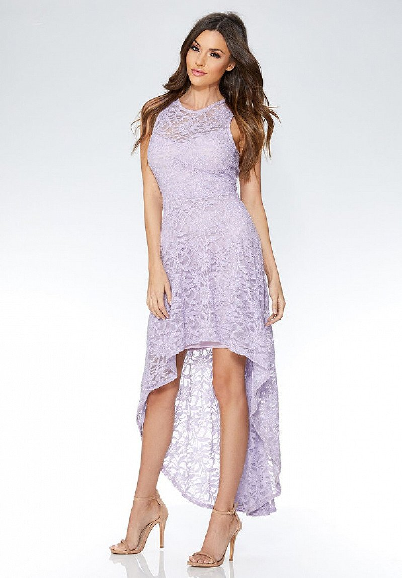 SAVE 20% on this Lilac Glitter Lace Dip Hem Dress!