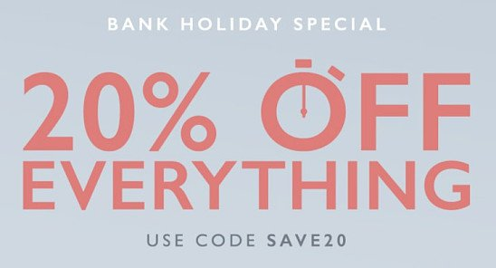 20% OFF EVERYTHING - Until Midnight Friday!!
