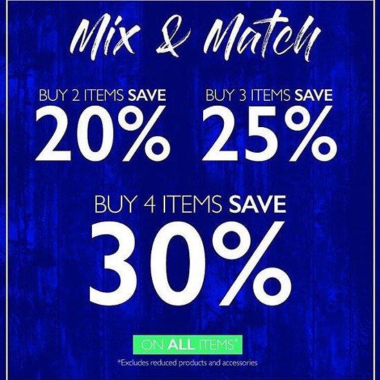 Buy 2 items and save 20%, Buy 3 and save 25%, Buy 4 and save 30% on all items a Raging Bull!
