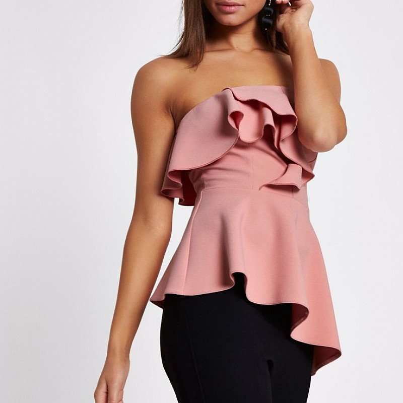 Get Over 60% off This Pink frill bandeau asymmetric hem top