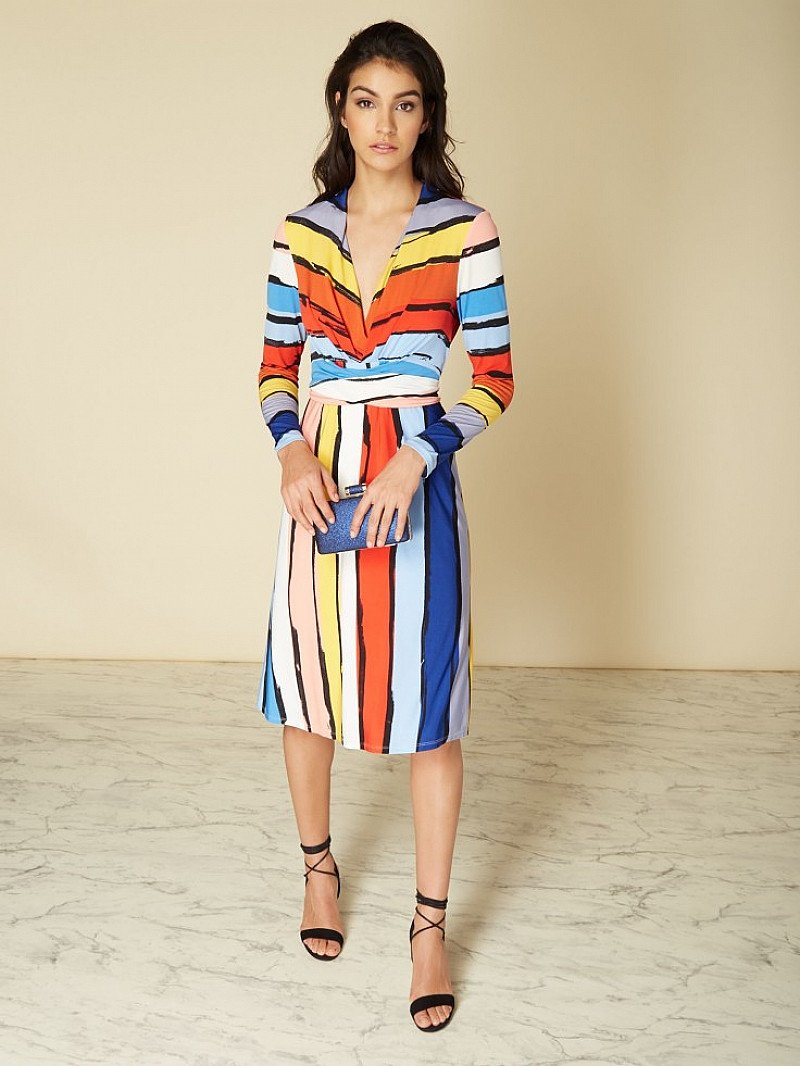 50% OFF - ISSA Kate Stripe Printed Wrap Dress!