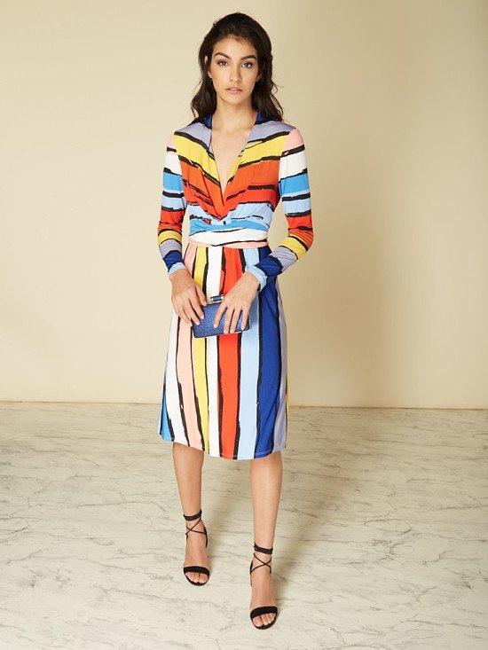 50% OFF - ISSA Kate Stripe Printed Wrap Dress!